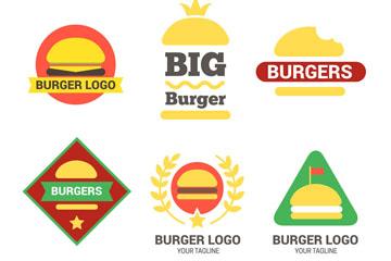 6款彩色汉堡包标志矢量图