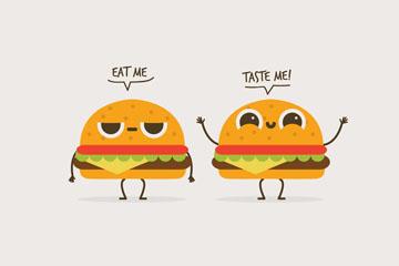 2个可爱卡通汉堡包矢量素材
