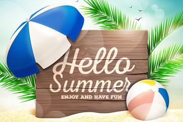 创意你好夏季沙滩木牌风景矢量图