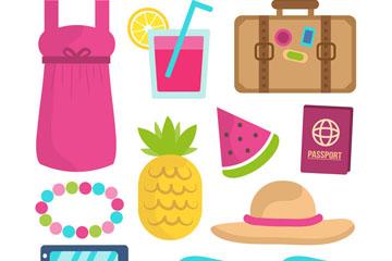 10款彩色夏季沙滩度假物品矢量图