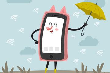 创意撑伞的手机矢量图