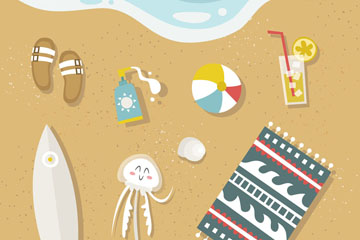 8个创意沙滩上的夏季物品矢量图