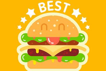 可爱表情汉堡包设计矢量素材