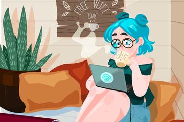 创意咖啡店上网的女子矢量图