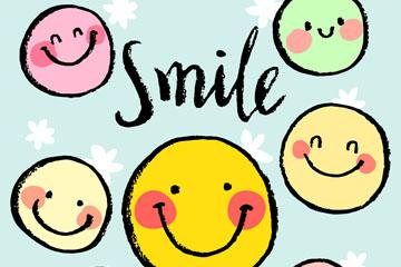 7个彩绘笑脸设计矢量图
