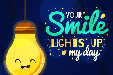 可爱灯泡微笑隽语矢量素材