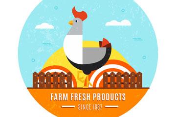 扁平化农场公鸡标志矢量素材