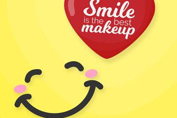 可爱笑脸和爱心设计矢量图