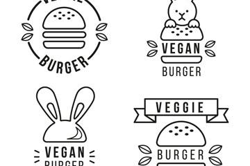 4款黑色汉堡包标志矢量素材