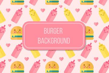 可爱汉堡包和调味酱无缝背景矢量
