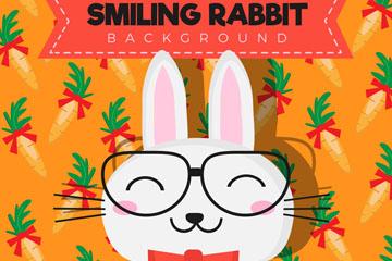卡通笑脸兔子和胡萝卜矢量图