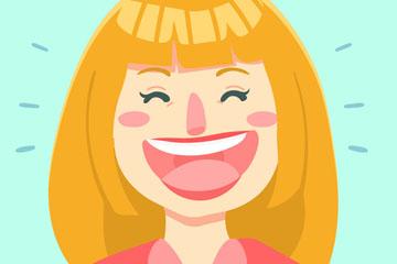 创意大笑的长发女子矢量图