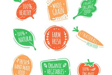 9款彩色有机食品标签矢量图