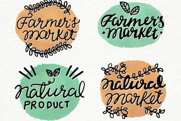 4款手绘有机食品标签矢量素材