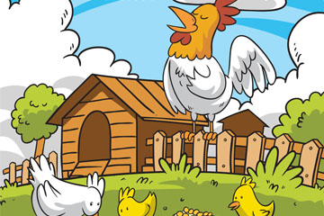 彩绘鸡场鸡家庭矢量素材