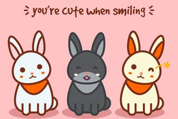 创意3只可爱笑脸兔子矢量素材