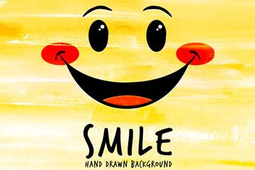 可爱黄色笑脸表情矢量素材