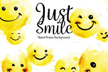 9个水彩绘黄色笑脸矢量素材