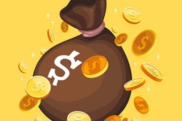 创意装满金币的钱袋矢量素材