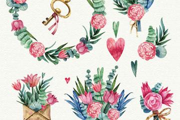 6款彩绘粉色花束和花环矢量素材