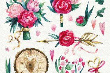 9款彩绘玫瑰花束和木桩矢量素材