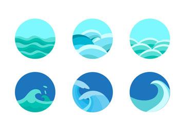 9款圆形海浪图标矢量素材