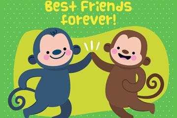 可爱国际友谊节2只猴子矢量素材