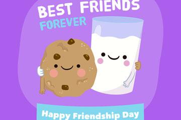 卡通国际友谊节牛奶和曲奇饼干矢量图