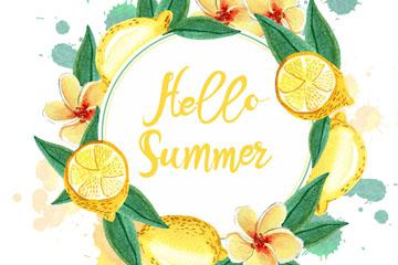 水彩绘夏季柠檬花环矢量图