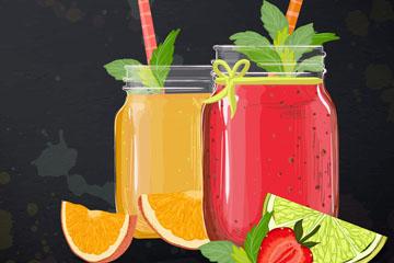 彩绘橙汁和草莓汁矢量素材