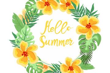 彩绘你好夏季橙色花环矢量素材