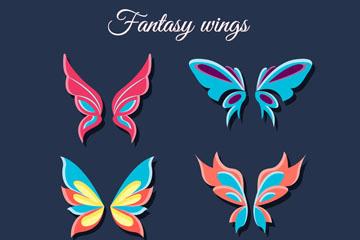 6款彩色蝴蝶翅膀矢量素材