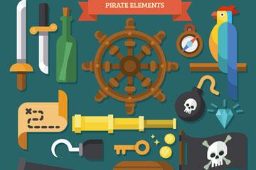 18款扁平化海盗元素矢量图