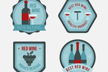 4款蓝色葡萄酒标签矢量素材