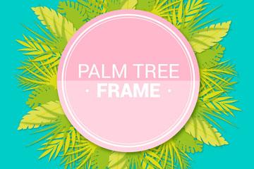 绿色棕榈树叶框架矢量素材