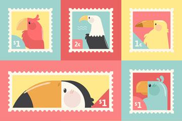 7款彩色鸟类侧影邮票矢量图