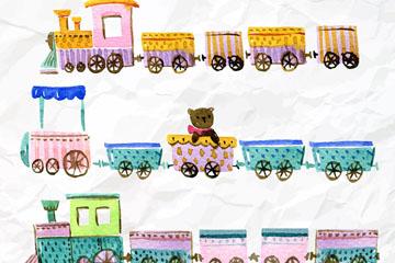 4款彩绘褶皱纸张上的玩具火车矢量图