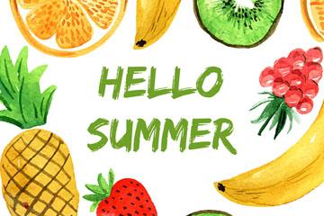 彩绘你好夏季水果框架矢量图