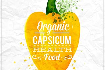水彩绘彩椒健康食品艺术字矢量图