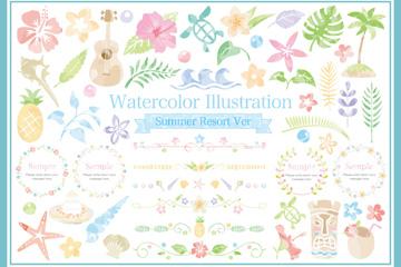 48款清新水彩绘夏季元素矢量图
