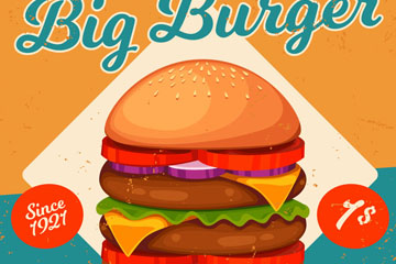 创意汉堡包促销海报矢量素材