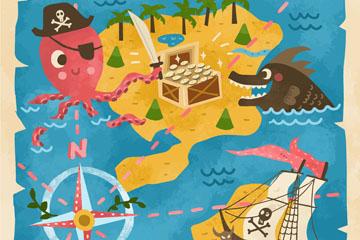 卡通复古探险地图矢量素材