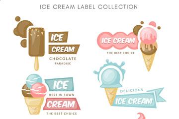 6款彩色冰淇淋标签矢量素材