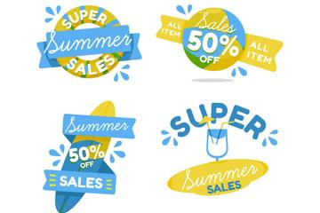 4款创意夏季促销标签矢量图