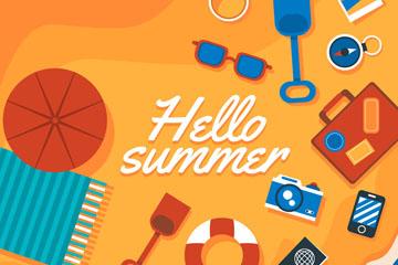 彩色夏季度假沙滩俯视图矢量素材