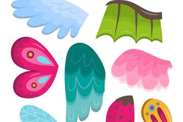 8款彩色动物翅膀矢量素材