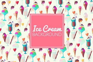 彩色夏季雪糕无缝背景矢量素材