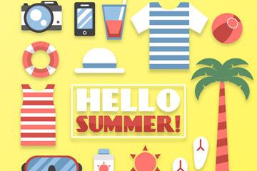 18款彩色夏季元素图标矢量图