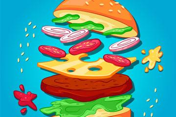 彩绘美味动感汉堡包矢量素材
