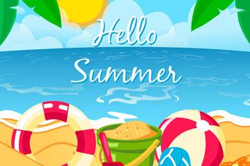 彩色夏季沙滩度假风景矢量素材